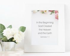 Instant Download Genesis 1:1 In the beginning God created the heaven and the Earth Bible verse ; Bible quote; christianity; quote; printable quote