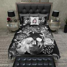 Sugar Skull Pink Black Gold Skulls Faux Mink Pair Queen Blanket Set Combo  NEW