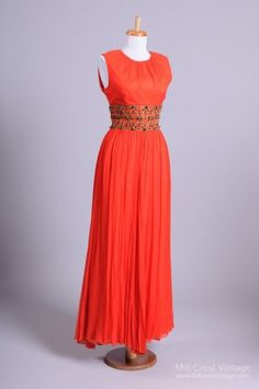 1960 Red Chiffon Vintage Evening Gown