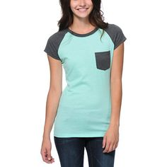 Keep your style casual with maximum comfort in the Petra pocket tee shirt from Empyre Girls. This slim girly fit tee comes in an Ice Green body and features contrasting Charcoal Grey raglan short sleeves, crew neck collar and small pocket at the left ches