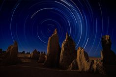 Pinnacles Star Trails by Frank Richardson, Nambung, Western Australia