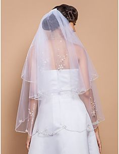 Wedding+Veil+Two-tier+Fingertip+Veils+Beaded+Edge+27.56+in+(70cm)+Tulle+WhiteA-line,+Ball+Gown,+Princess,+Sheath/+Column,+Trumpet/+–+USD+$+50.00