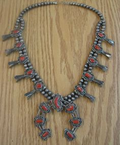 Native American Squash Blossom Vintage Navajo Pawn Red Coral Sterling Necklace