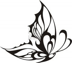 Tribal Butterflies.Vector illustration ready for vinyl cutting. Stock Photo