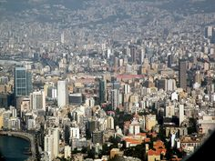 Beirut-View Of Downtown From Airplane Includes Platinum Tower, Holiday Inn, Al Amin Mosque, Grand Serail, AUB, Al Murr Tower
