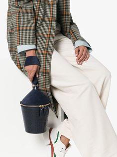 STAUD Navy Blue Minnow crocodile-effect Sude Leather Bucket Bag - Farfetch Bag Sale, Crocodile, Old School, High Fashion, Navy Blue, Elegant, Bucket Bags, Leather, Shopping