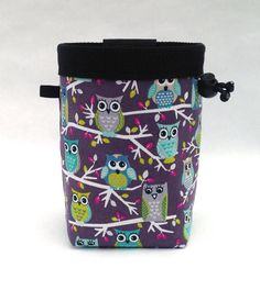 owl chalk bag, rock climbing, purple