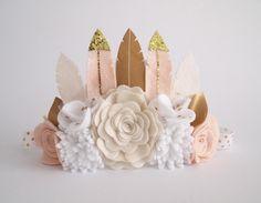 Neutral Kirei Feather Crown - full size crown/ felt feather crown/ felt flower crown/ neutral colours/ birthday crown/ photo prop by kireihandmade on Etsy https://www.etsy.com/listing/227257578/neutral-kirei-feather-crown-full-size