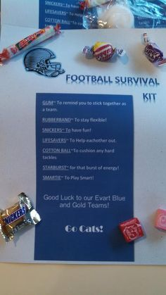 Fun football survival kit to help cheer your players on for the season. Football Goody Bags, Football Favors, Football Player Gifts, Football Treats, Football Banquet, Football Spirit, Football Signs, Football And Basketball, Team Gifts