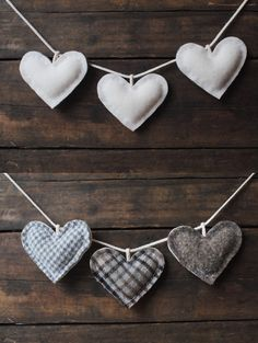 Rustic Wedding Garland - White Heart Love Bunting - Wedding Table Decoration - Autumn Fall Winter Wedding. $54.00, via Etsy.