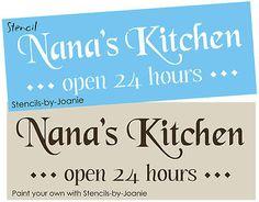 Primitive STENCIL Nana Kitchen Open Shabby Country Sign