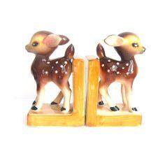 Vintage Bookends set - Ceramic Deer Figurines - Made in Japan Cute on Etsy, $38.07 AUD