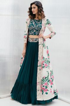 Shop Mrunalini Rao Printed Jacket Lehenga Set , Exclusive Indian Designer Latest Collections Available at Aza Fashions Party Wear Indian Dresses, Designer Party Wear Dresses, Indian Gowns Dresses, Indian Bridal Outfits, Indian Fashion Dresses, Dress Indian Style, Indian Designer Outfits, Girls Fashion Clothes, Indian Dresses For Girls