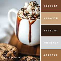 Psychology infographic and charts Chocolate Dessert Served on White Ceramic Mug Color Palette Infographic Description Color Palettes – Ave Mateiu Gold Color Palettes, Colour Pallete, Color Combos, Color Pairing, Brown Color Schemes, Coffee Colour, Chocolate Color, Color Balance, Pantone Color