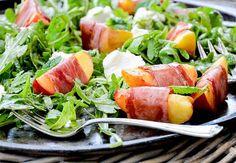 Prosciutto-Wrapped Peach and Arugula Salad