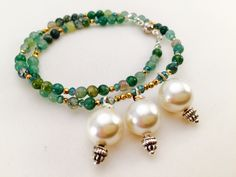 Image of Armband Green Jade mit Perlen Armband/Kette