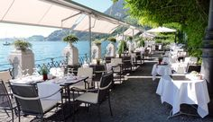 Panorama Restaurant Terrace, Hotel Vitznauerhof Vitalresort, Lake Lucerne, Vitznau, Switzerland ✯ ωнιмѕу ѕαη∂у Terrace Hotel, Seen, Cool Places To Visit, Switzerland, The Good Place, Europe, Restaurant, Table Decorations, Nature