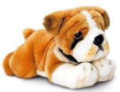 Plüschtier Hund Bulldogge, Kuscheltier Keel Toys liegend ca. 30 cm