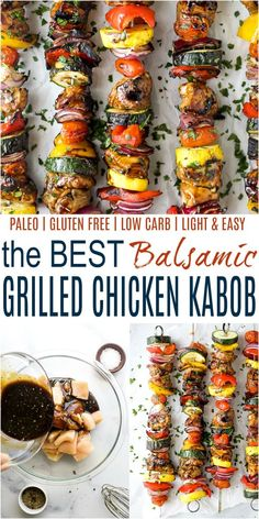These juicy Balsamic Grilled Chicken Kabobs are the BEST kabobs you will ever have! Tender chicken marinated in a sweet balsamic sauce then grilled with vegetables for a healthy dinner recipe you can't beat. It's a summer grilling must! Marinated Chicken Kabobs, Balsamic Grilled Chicken, Marinated Vegetables, Chicken Marinade Recipes, Kebab Recipes, Grilled Meat, Chicken And Vegetables, Fresh Vegetables, Yummy Recipes