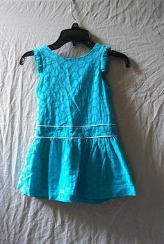 Janie and Jack Spring Summer Teal Sleeveless Dress W/ Wrap Style Size 3 #JanieandJack #wrapdress #Casual
