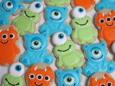 Little Monsters Cookies, Birthday Party Cookie Favors, Birthday, Monster Theme Cookies, Alien Creatures, Custom Cookies by MartaIngros on Etsy https://www.etsy.com/listing/196897435/little-monsters-cookies-birthday-party