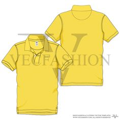 Men Yellow Polo Neck Short Sleeve T-shirt Vector Template