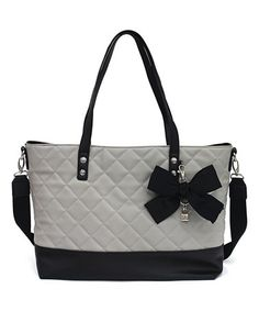 Another great find on #zulily! Light Gray & Black Helen Tote #zulilyfinds