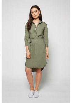 1/2 Placket Poplin Shirt Dress 2
