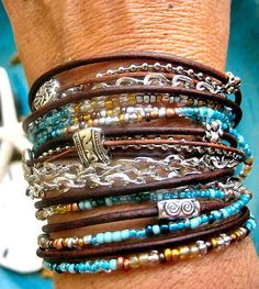 """Boho Chic Endless Leather Wrap Beaded Bracelet with Silver Accents....""""FREE SHIPPING"""""""