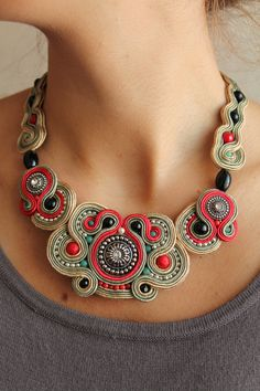 Soutache Necklace ♥ by softamestist on Etsy, Fabric Jewelry, Beaded Jewelry, Handmade Jewelry, Unique Jewelry, Jewelry Accessories, Fashion Accessories, Jewelry Design, Fashion Jewelry, Soutache Necklace