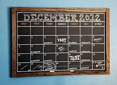 IHeart Organizing: Preston's Bedroom Update: A DIY Chalkboard Calendar via http://iheartorganizing.blogspot.com/2012/12/prestons-bedroom-update-diy-chalkboard.html