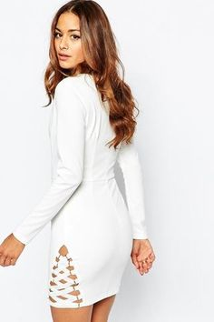 f762837af7b Bodycon Robes Blanc Crepe elastique Hem Detail Mini Robe