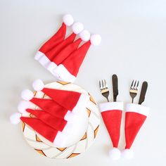 NEW Christmas Caps Cutlery Holder Fork Spoon Pocket Christmas Decor Bag Xmas gift ideas – uncommon Christmas ideas Out of all the items that we have already discovered un Decor Crafts, Christmas Crafts, Christmas Ornaments, Christmas Gadgets, Rustic Christmas, Christmas Bags, Christmas Holidays, Christmas Storage, Family Christmas