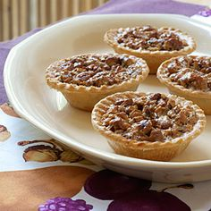 Mini Pecan Pies | MyRecipes.com I used filough dough because I could not ring frozen tarts. The even better discovery was when I took the leftover and put it into crescent rolls and baked. They were better then the tarts.
