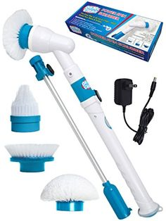 Quickie Tub-Tile Power Scrubber | Power Spin Scrubber Cleaning Brush - Upgraded Deluxe Electric Scrubber with 3 Brush Heads, Extension Pole, Rechargeable Battery - Turbo Cordless Handheld Bathroom, Floor, Tile, Shower, Bathtub Cleaner | Available at Lowes