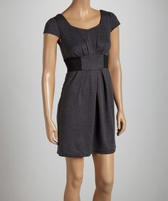 Take a look at the Black & Gray Gathered Cap-Sleeve Dress on #zulily today!