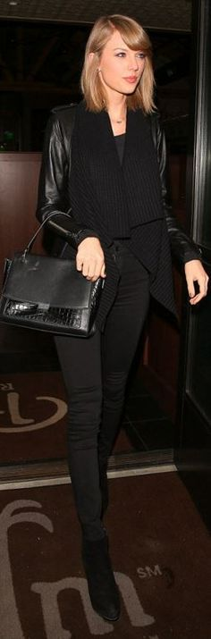 Who made Taylor Swift's black cardigan coat, skinny jeans, suede boots, and leather handbag?