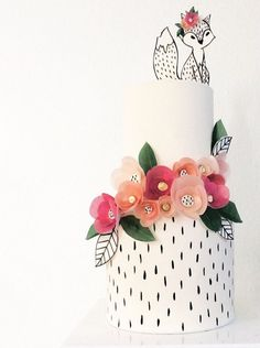 Wafer paper flower & fox cake by Hey there, Cupcake!