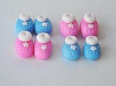 Baby Shower Cupcake/Cake Topper - Handmade Edible Fondant Cupcake Topper - baby shoes, baby booties for baby cakes - 10 pairs