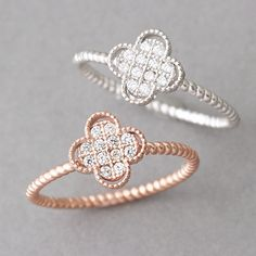 Sterling Silver Clover Ring White Gold from Kellinsilver.com – four leaf clover ring, clover jewelry