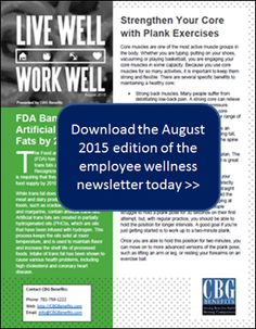 Employee Wellness Newsletter for August 2015: Core Strength Exercises, Food Label Breakdown and more