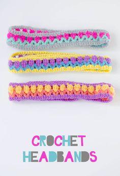 Crochet Patterns Headband I made these crochet headbands using a tulip stitch which I learnt in a Bella Co. Mode Crochet, Crochet Crafts, Crochet Yarn, Crochet Flowers, Crochet Stitches, Crochet Headbands, Crochet Projects, Crochet Headband Pattern, Knit Headband