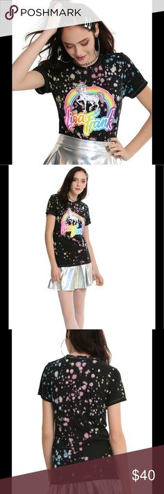 🦄Lisa Frank Splatter Unicorn Tee NWT!🦄 Wear black, all day, every day. But if you feel like adding a little color you can't go wrong with Lisa Frank. This black tee features a rainbow unicorn and the Lisa Frank logo on a colorful bleach splattered background. 100% cotton, butter soft! Brand new w tags. Size XS. Lisa Frank Tops Tees - Short Sleeve