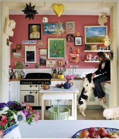 Paint Color Portfolio: Bright Pink Kitchens