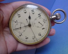 RARE Old Original LEMANIA Pocket Watch Chronograph Working condition Size 61mm