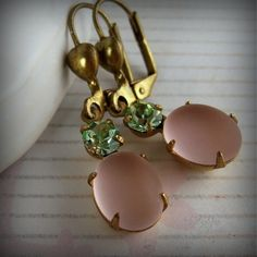 Bridesmaids' earrings, in pink and green. #LillyPulitzer #SouthernWeddings