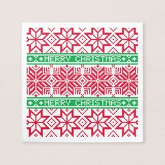 Ugly Sweater Merry Christmas Red Green Snowflake Napkin