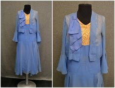 1920s bllue Chiffon and Lace evening dress and jacket