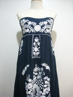 Mexican Embroidery Sundress Cotton Strapless. $52.00, via Etsy.