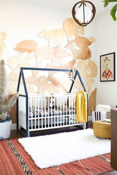 "build a house frame around the crib that can just ""lift"" off when baby is older! Tent it for dream land for baby, or tent just the frame for instant fort when toddler-sized! YES!"